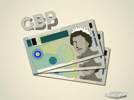イギリス ポンドお金紙ベクター デザイン  イラスト・ベクター素材