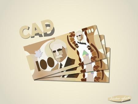 canadian dollar: canadian dollar money paper vector design