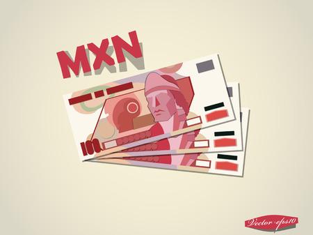 pay bill: mexican pesos money paper vector design