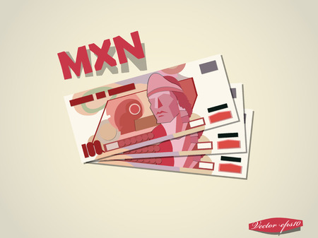mexican pesos money paper vector design