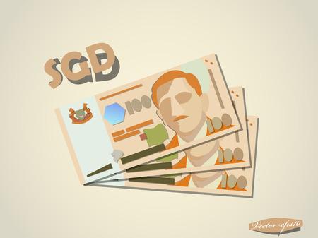 singapore dollar money paper vector design