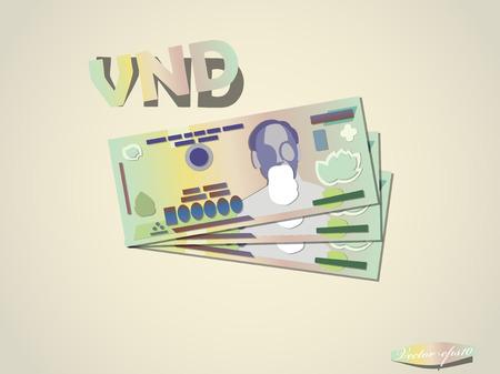 ho: vietnam dong money paper vector design