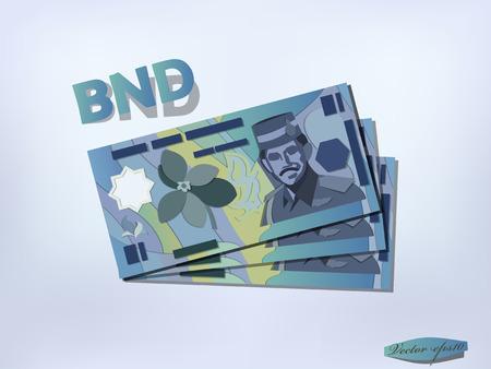 brunei: brunei dollars money paper vector design