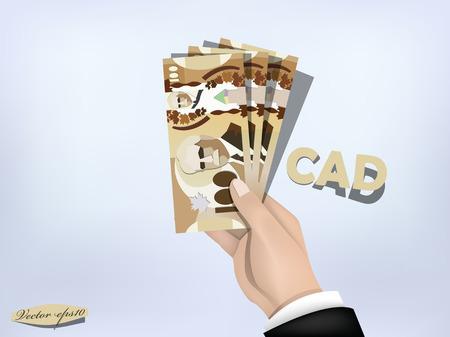 canadian dollar: canadian dollar money paper on hand,cash on hand Illustration