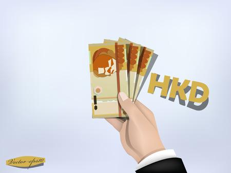 hongkong: hongkong dollar money paper on hand,cash on hand Illustration
