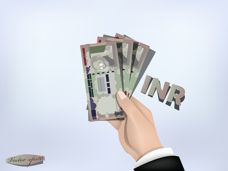 rupee: indian rupee money paper on hand,cash on hand Illustration