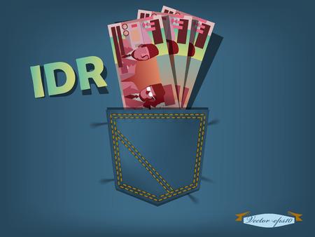 bolsa dinero: ilustración vectorial de la rupia indonesia en el bolsillo de los pantalones vaqueros azules