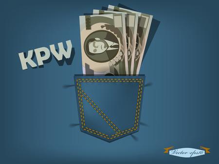 北朝鮮ウォンとブルー ジーンズのポケットの中のベクトル