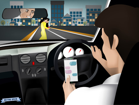 transportation and vehicle concept - man using smart phone while driving the car when woman and her son are crossing the road