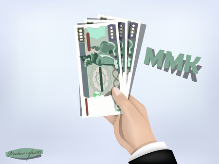 myanmar kyat money paper on hand,cash on hand Illustration