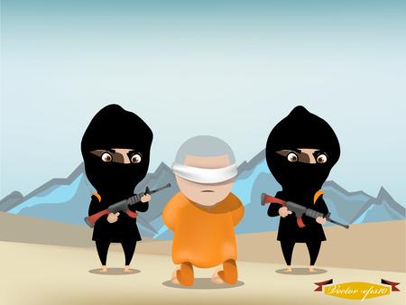 prisoner of war: hostage is kneeling in front of terrorist with their gun