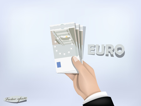 us paper currency: european union money paper on hand,cash on hand Illustration