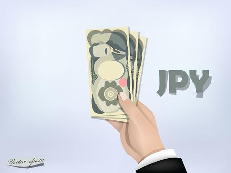 日本の金紙を手に円は、手持ちの現金  イラスト・ベクター素材