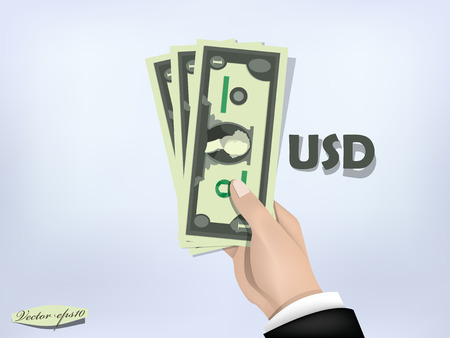 cash money: US dollar money paper on hand,cash on hand