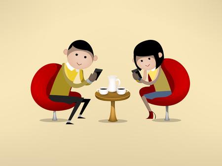 男性と女性がデート中にスマート フォンを使用しています。