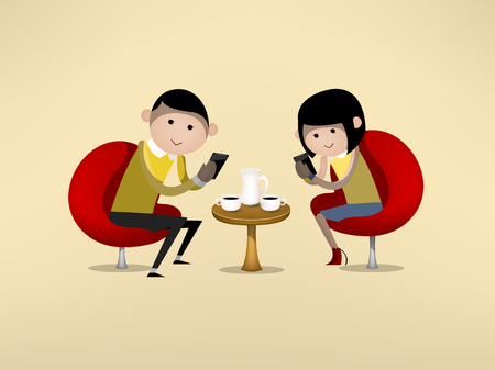 man and woman are using smartphone during dating