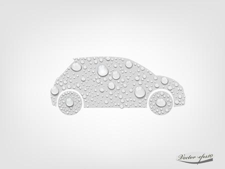 wasserstoff: Auto von transparenten Wassertropfen, vector