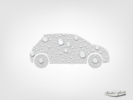 car from transparent water drop vector Illustration