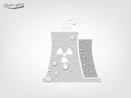nuclear reactor: nuclear power plant from transparent water drop vector
