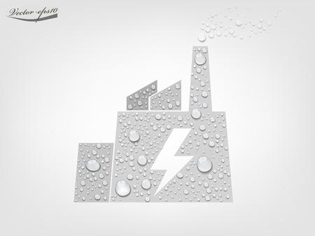 fukushima: power plant from transparent water drop vector Illustration