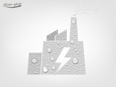 power plant from transparent water drop vector Illustration