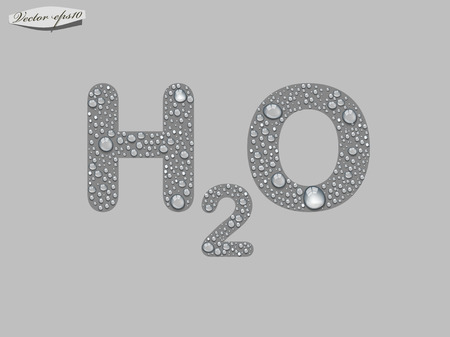 h2o: H2O typo from transparent water drop vector