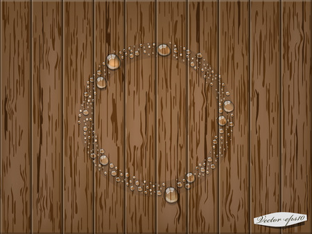 condensation: transparent water drop in circle form on wood table Illustration
