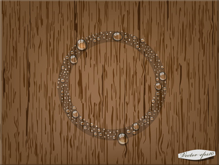 condensation on glass: transparent water drop in circle form on wood table Illustration