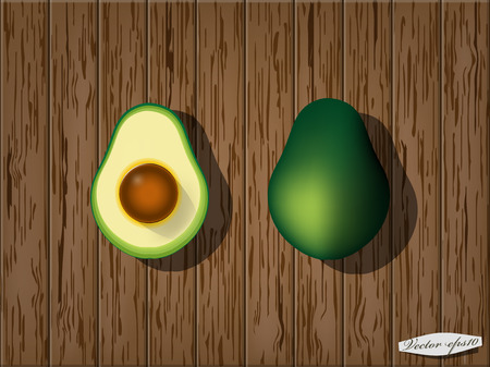 halved: avocado and half on wood table Illustration