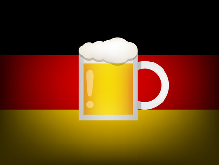 germany flag: glass of beer on germany flag
