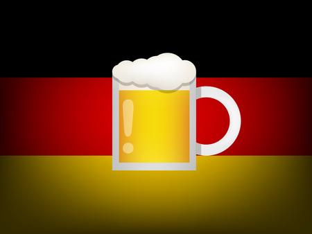 bandera alemania: vaso de cerveza en la bandera de alemania Vectores