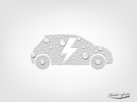 nonpolluting: electric vehicle car from transparent water drop vector