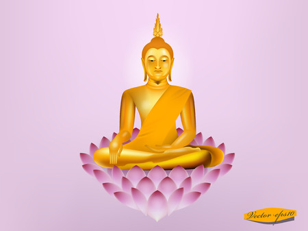 vector of buddha sitting on lotus,buddha design Ilustracja