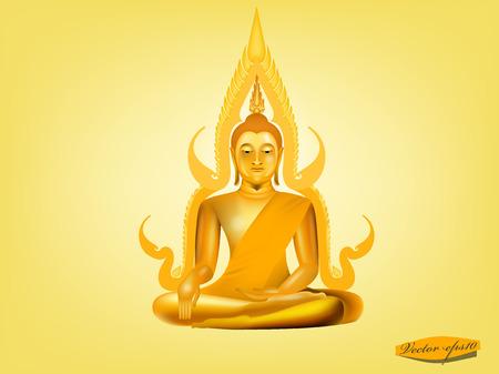 buddha on yellow background 向量圖像
