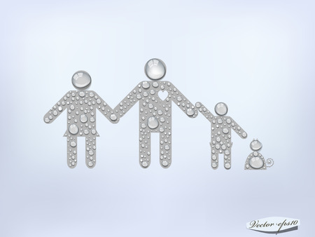 family pet: dad mom and child and pet from transparent water drop,family design Illustration