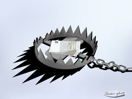 double cross: disegno vettoriale di trappola di metallo con i soldi EURO