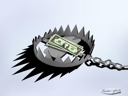 米ドルを使用して金属のトラップのベクトルのデザイン
