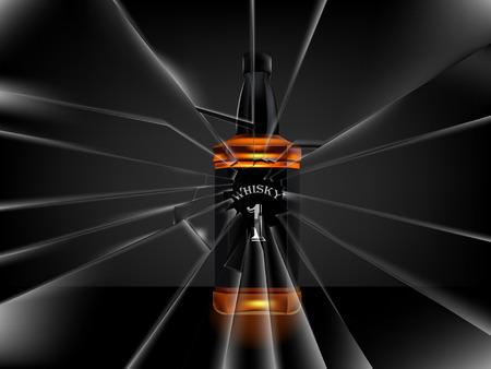 whisky bottle: vector of realistic beautiful whisky bottle on dark background,broken glass scene Illustration
