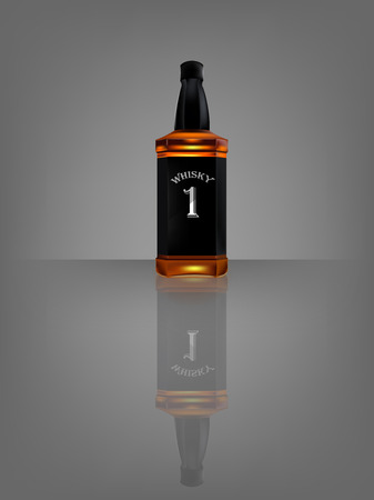 bourbon whisky: vector of realistic beautiful whisky bottle with reflect shadow