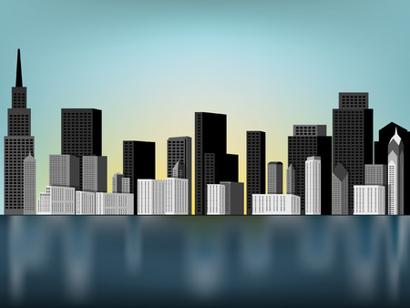 toronto: beautiful downtown panorama scene vector