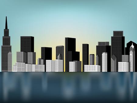 downtown: beautiful downtown panorama scene vector