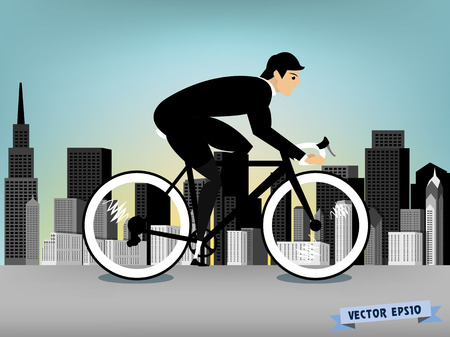 downtown: business man cycling on the downtown road vector Illustration