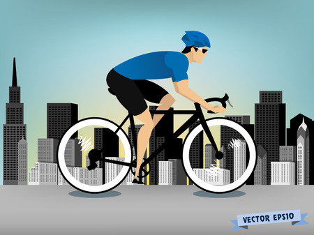 downtown: man cycling on the downtown road vector