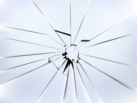 broken: realistic broken windows glass vector