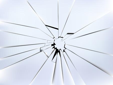 vetor vidro realista da janela quebrada