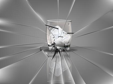 vetro rotto: realistico bella bicchiere di whisky con cubetti di ghiaccio vettore, scena vetri rotti Vettoriali