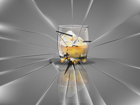 whisky glass: realistic beautiful whisky glass with ice cubes and whisky vector,broken glass scene Illustration