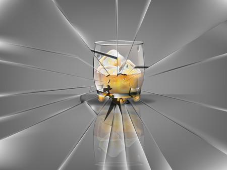 vetro rotto: realistico bella bicchiere di whisky con cubetti di ghiaccio e del whisky vettore, scena vetri rotti