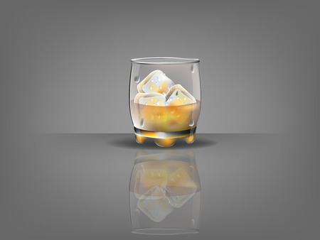 ice surface: realistic beautiful whiskey glass with ice cubes and whiskey vector Illustration