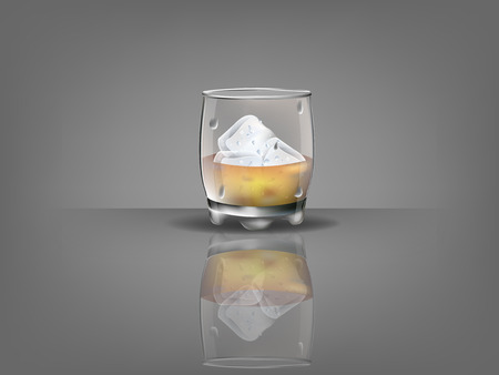 scotch whisky: realistic beautiful whiskey glass with ice cubes and whiskey vector Illustration